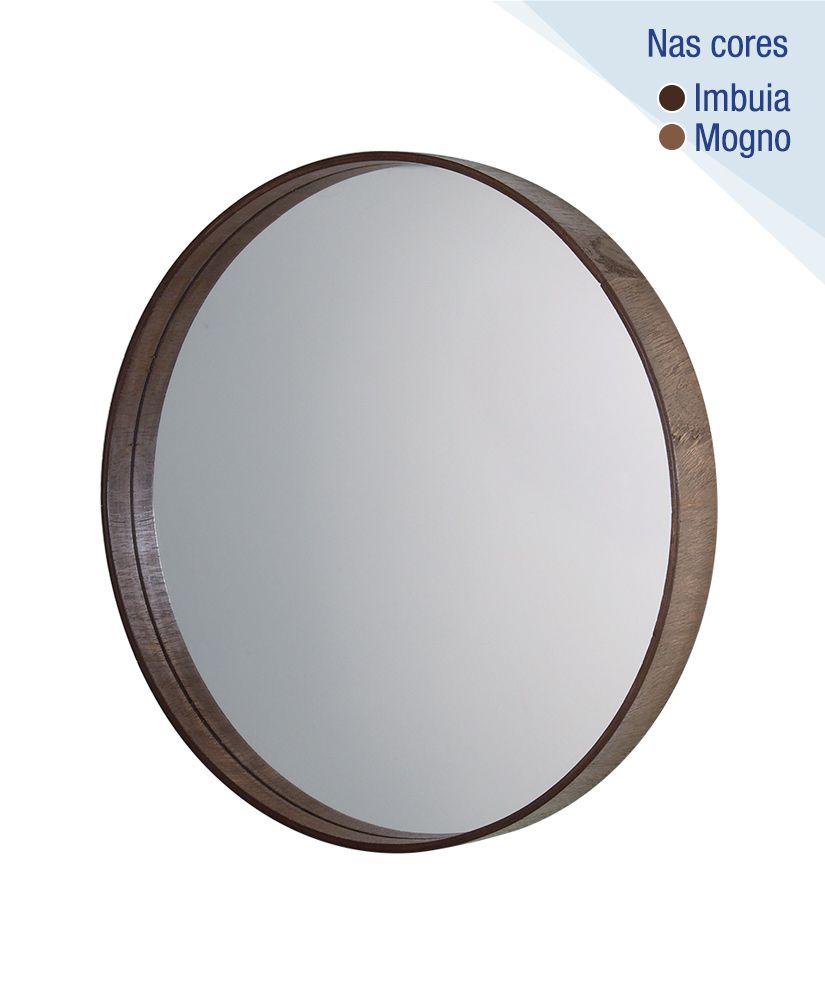 Espelho redondo com moldura de madeira – 45,5cm