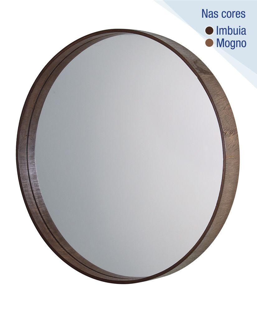 Espelho redondo com moldura de madeira – 55,5cm