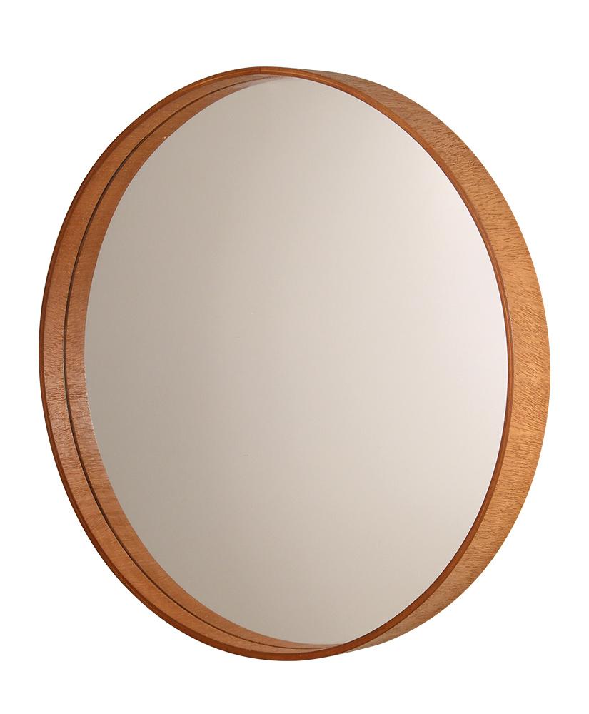 Espelho redondo com moldura de madeira - 55 X 3cm