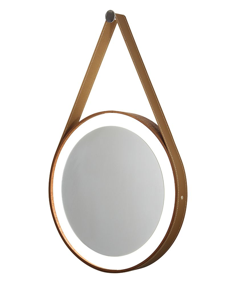 Espelho redondo com moldura de madeira, cinta de couro e Led