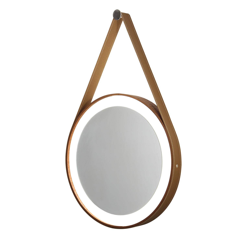 Espelho redondo com moldura de madeira, cinta de couro e Led - 50cm
