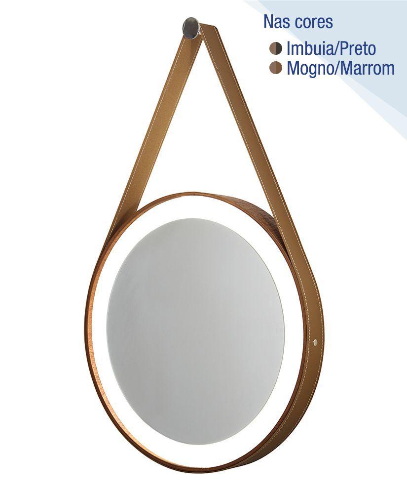 Espelho redondo com moldura de madeira, cinta de couro e Led – 56cm