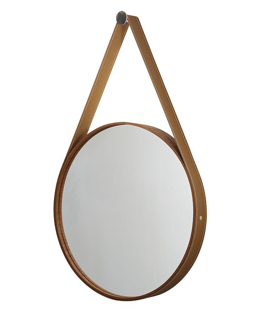 Espelho redondo com moldura de madeira e cinta de couro