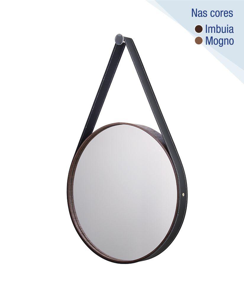Espelho redondo com moldura de madeira e cinta de couro – 46cm