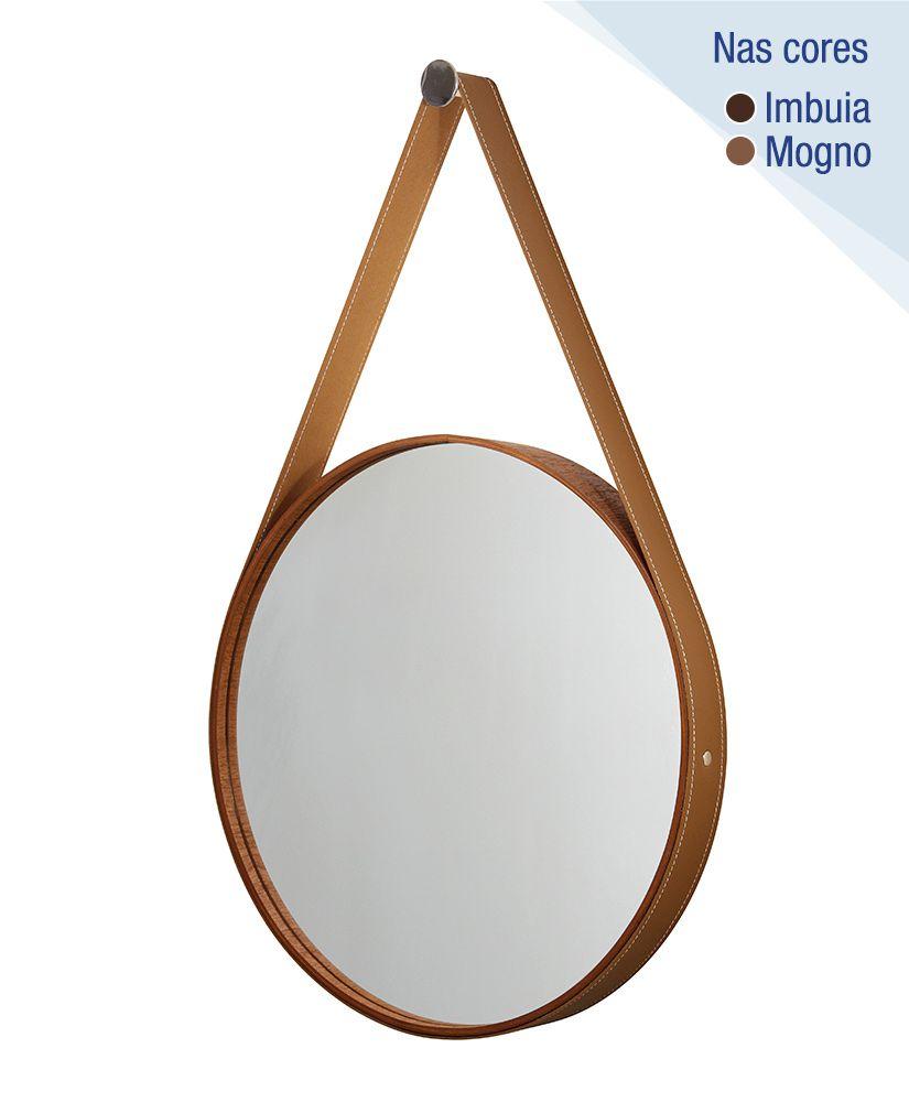 Espelho redondo com moldura de madeira e cinta de couro – 56cm