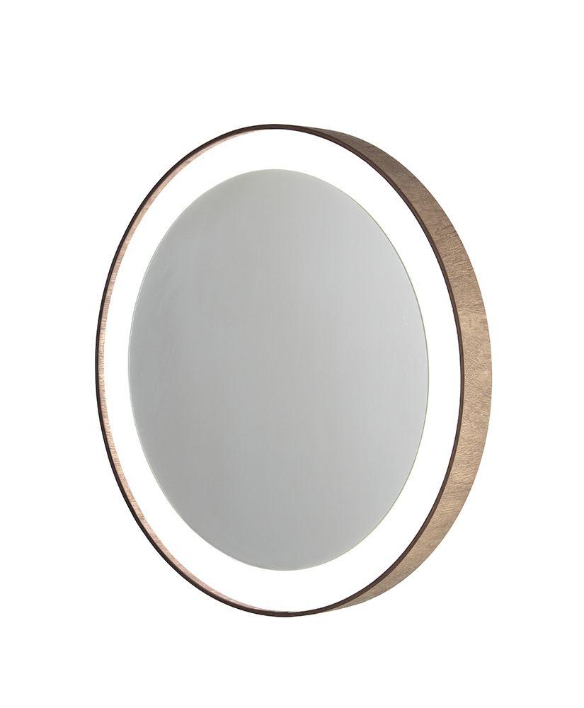 Espelho redondo com moldura de madeira e Led