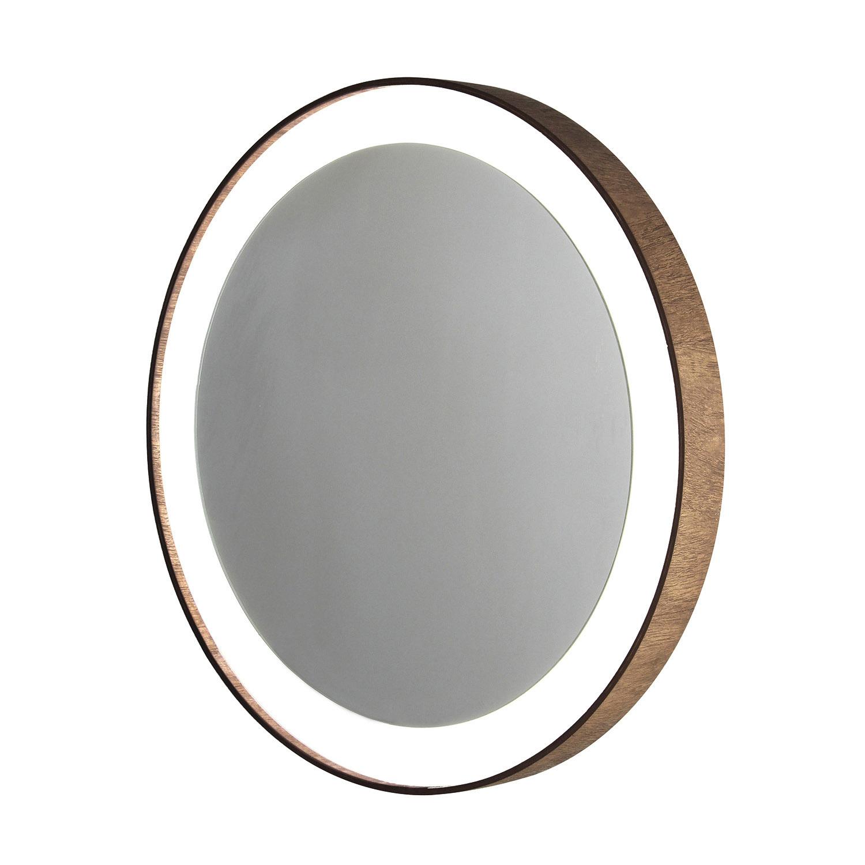 Espelho redondo com moldura de madeira e Led - 50cm