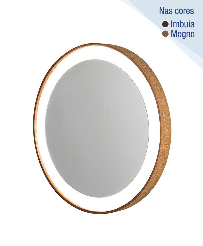 Espelho redondo com moldura de madeira e Led – 55,5cm