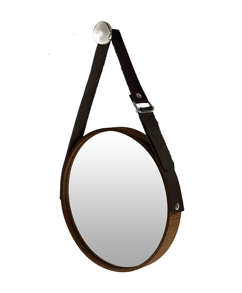 803fca590 Espelho redondo com moldura em madeira e cinta de couro (25