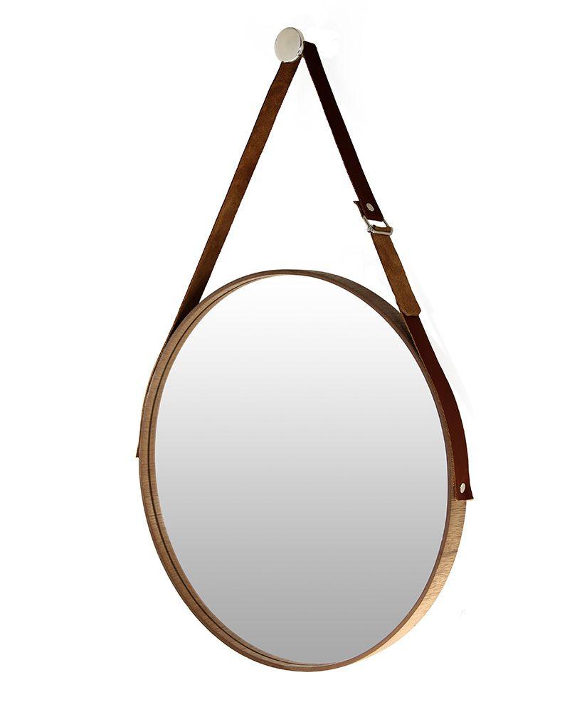 693963b0e Espelho redondo com moldura em madeira e cinta de couro (45cm ...