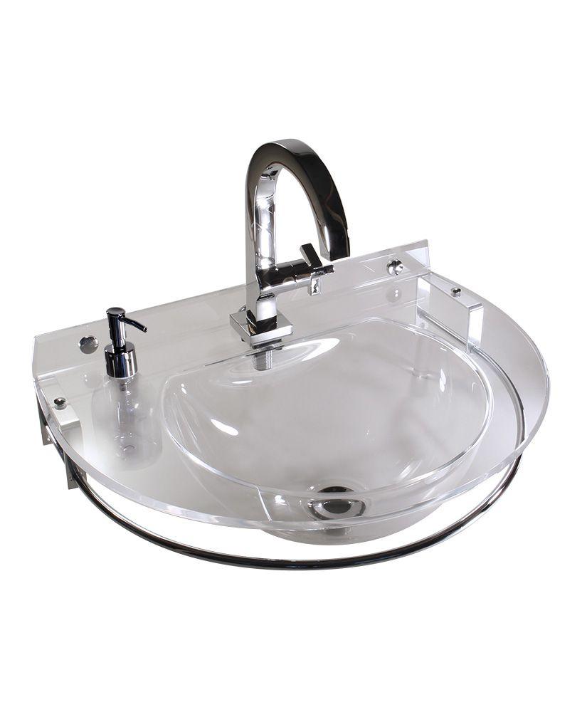 Lavatório redondo com toalheiro e porta sabonete líquido –Cristal