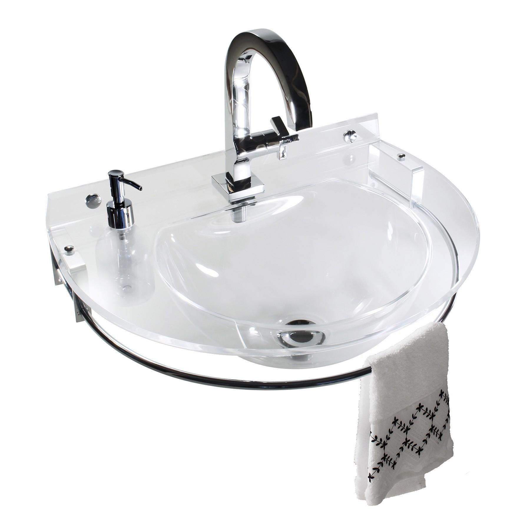 Lavatório redondo com toalheiro e porta sabonete líquido -Cristal