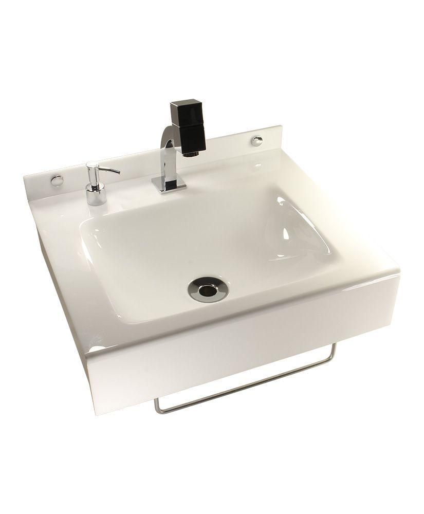 Lavatório quadrado com toalheiro e porta sabonete líquido