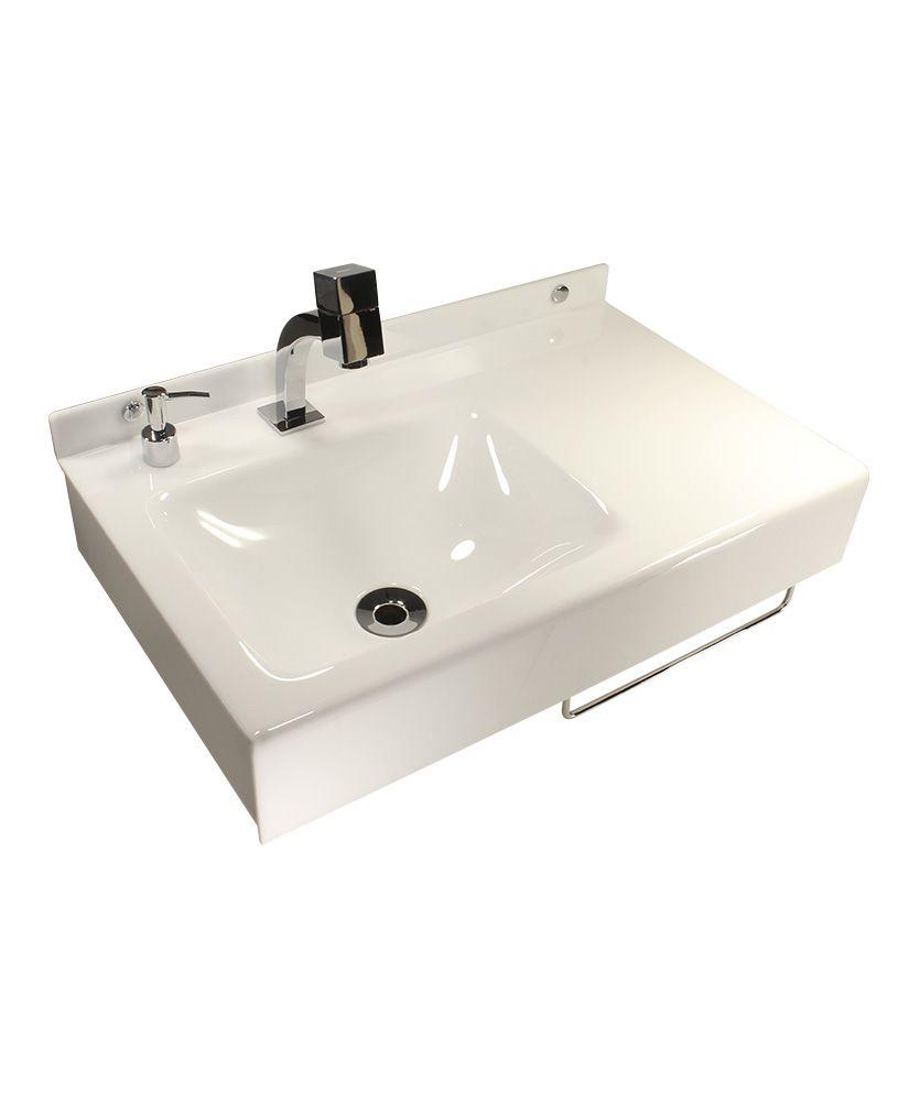 Lavatório retangular com toalheiro e porta sabonete líquido - Branco