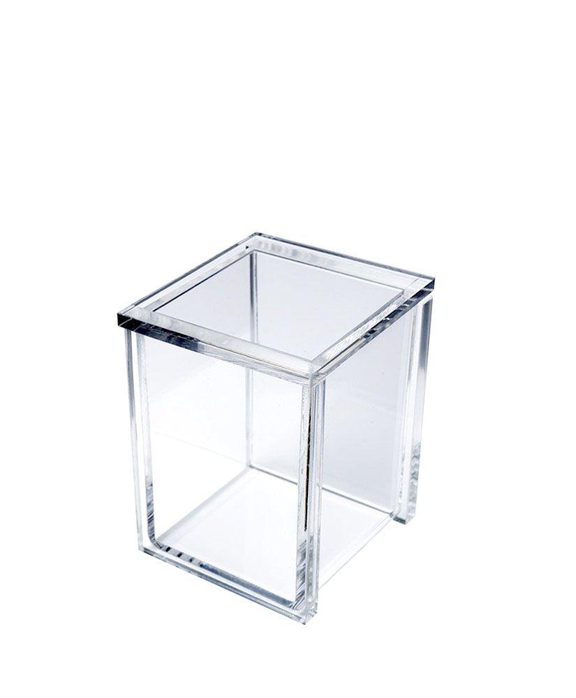 Porta Algodão Quadrada -Cristal