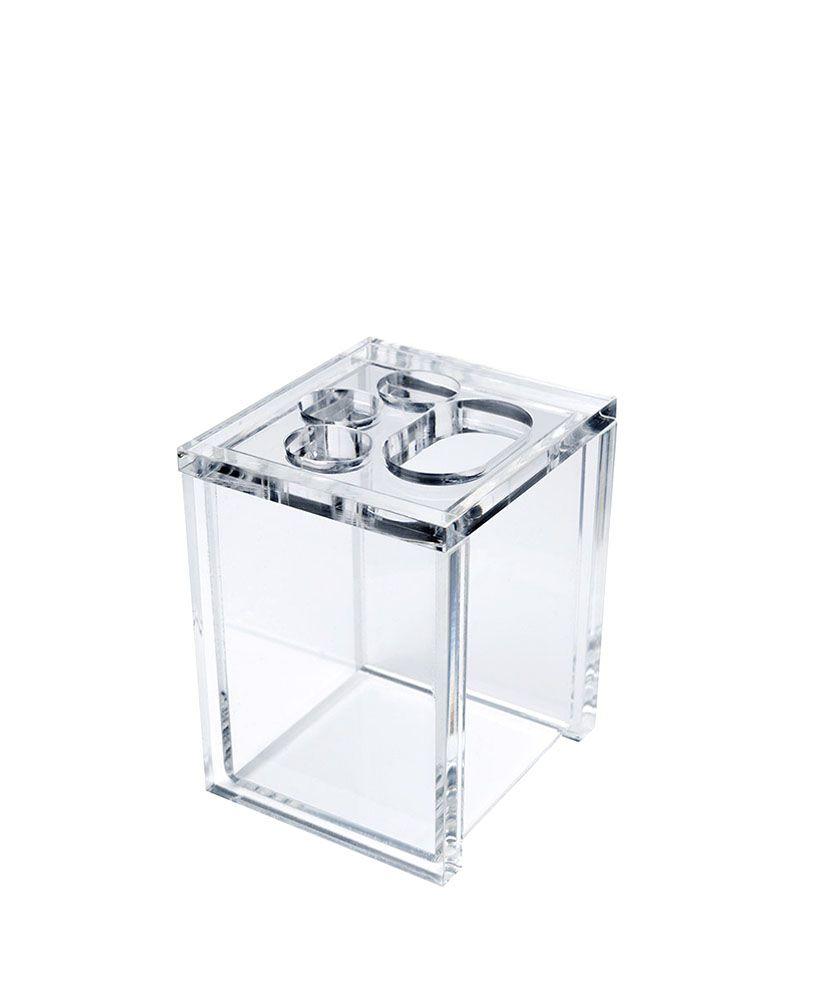Porta escovas Quadrada -Cristal