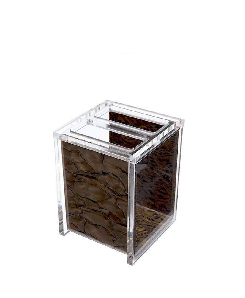 Porta escova Quadrado –Madreperola Marrom