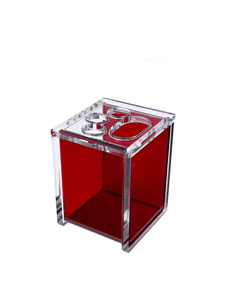 Porta escova Quadrado –Vermelho