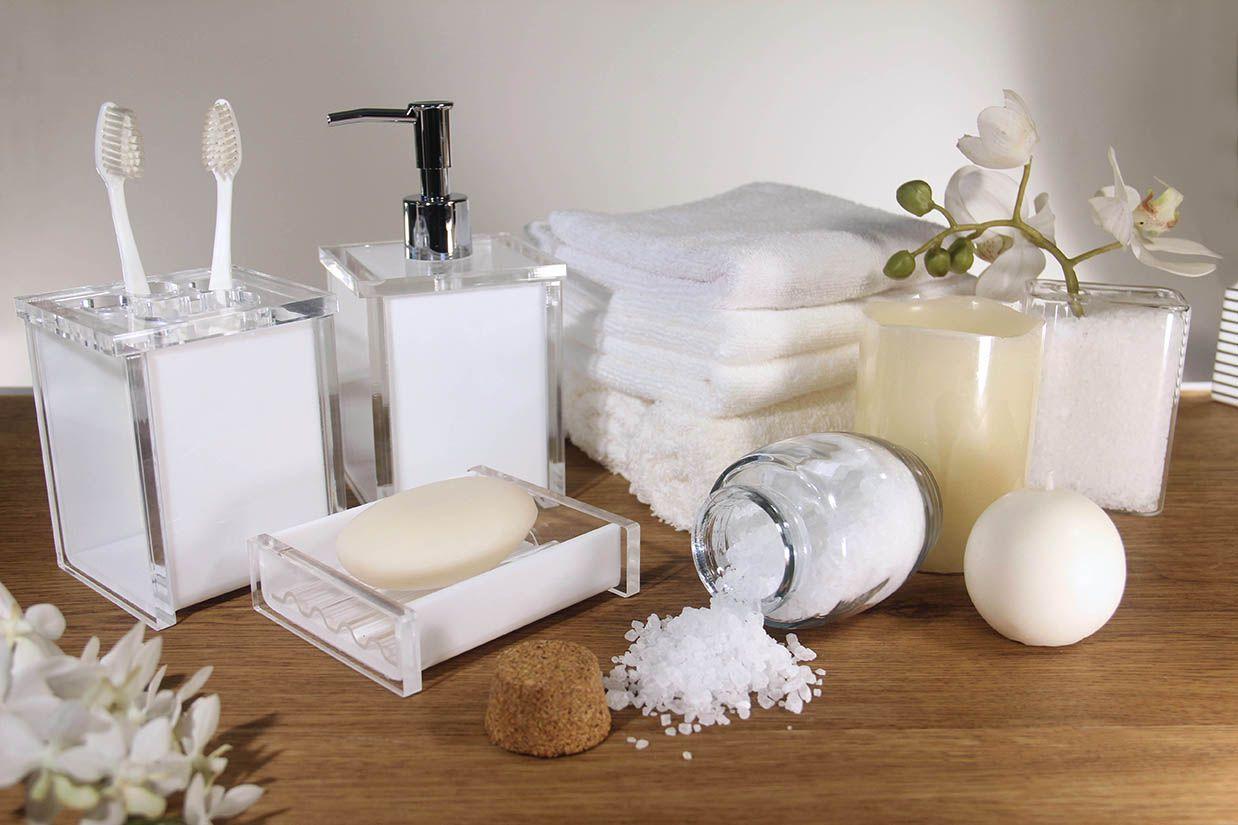 Porta sabonete líquido Quadrada –Renda Branca