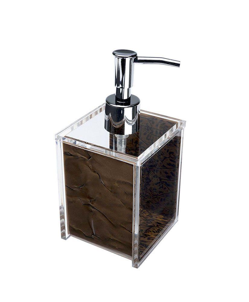 Porta sabonete líquido Quadrado –Madrepérola Marrom