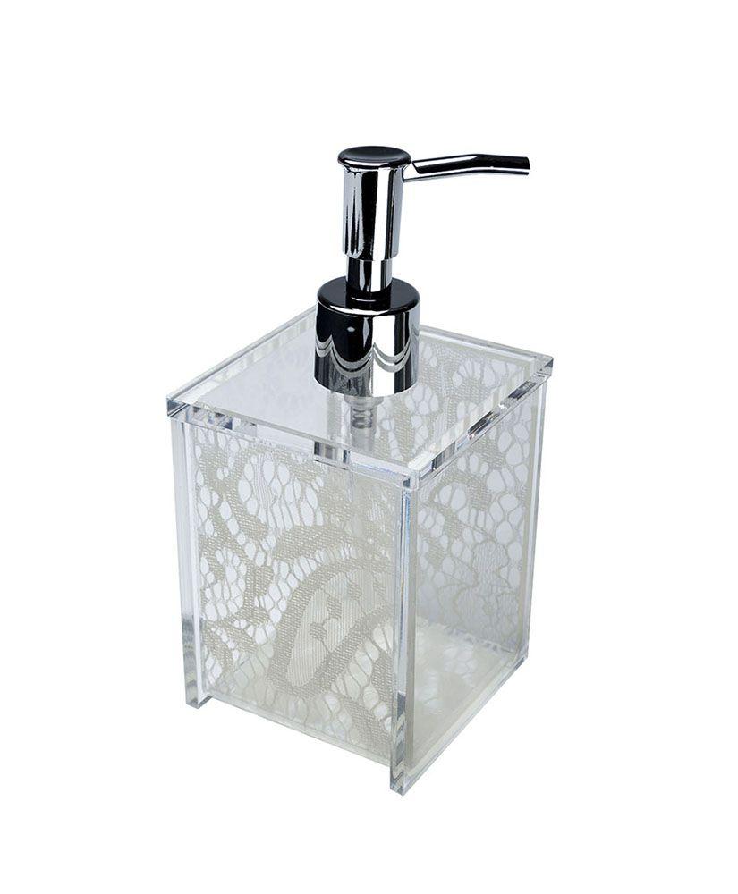 Porta sabonete líquido Quadrada -Renda Branca
