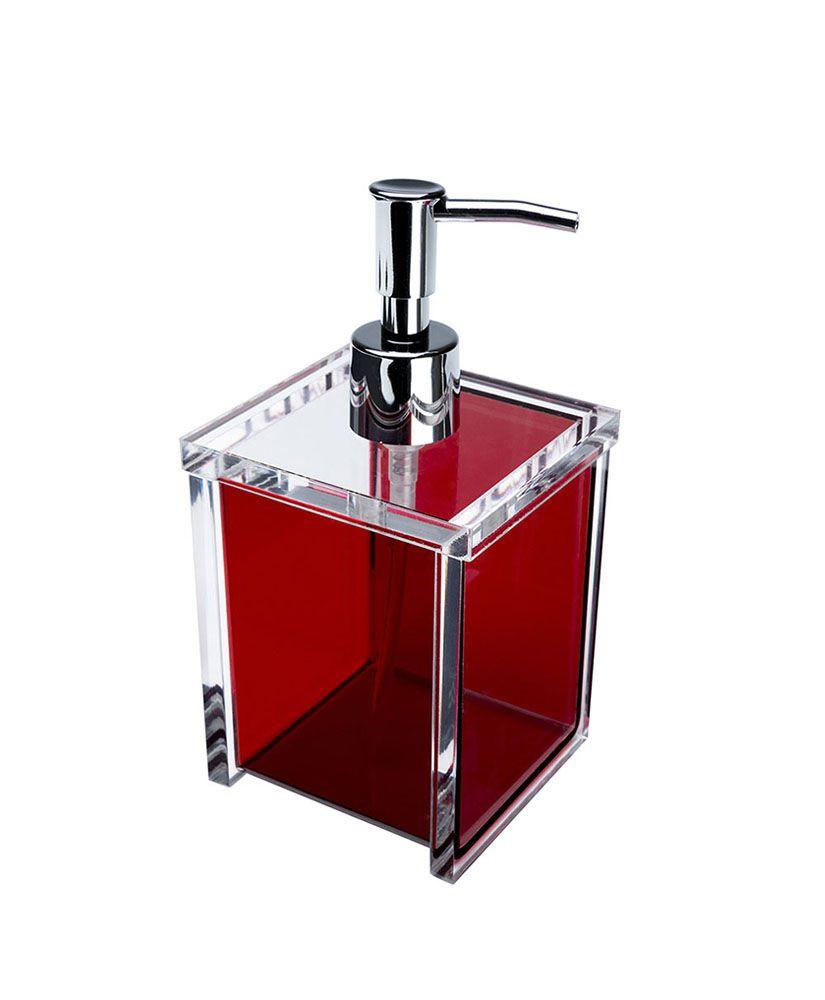 Porta sabonete líquido Quadrada –Vermelho