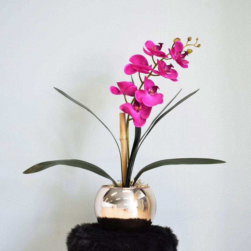 Arranjo de Orquídea Artificial Pink no Vaso Rose Gold Médio