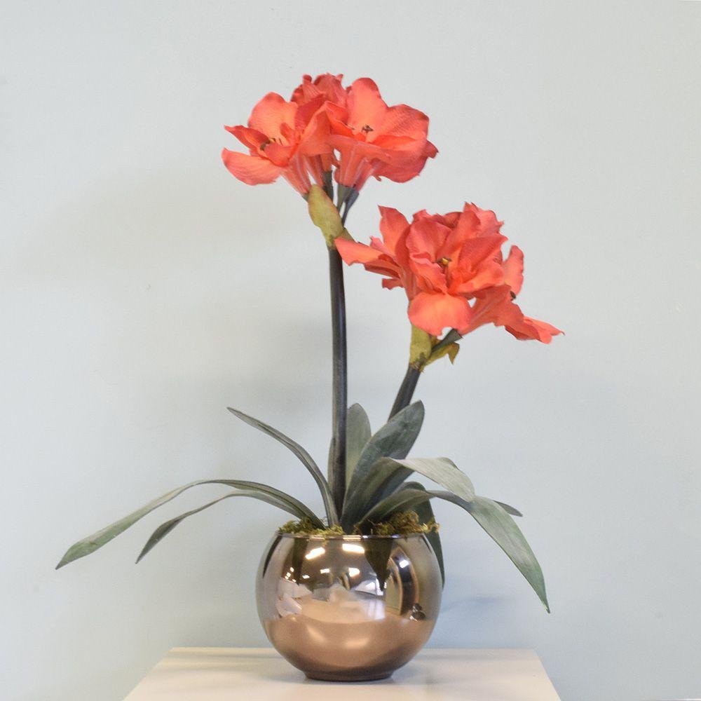 Arranjo Flores Artificiais Amarílis Vermelho no Vaso Bronze
