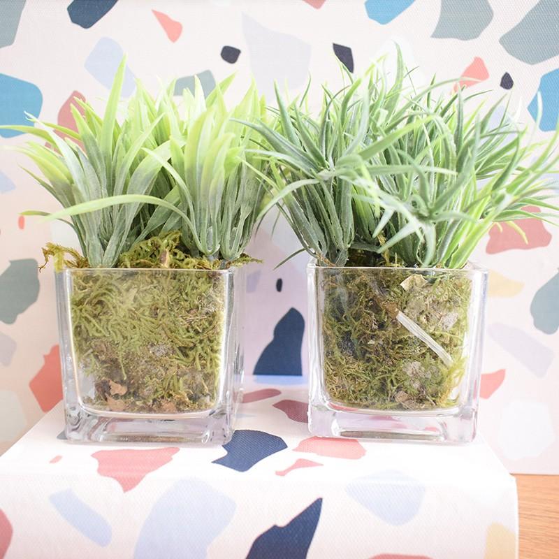 Conjunto com Dois Arranjos de Mini Capim Artificial no Vaso de Vidro | Linha permanente Formosinha