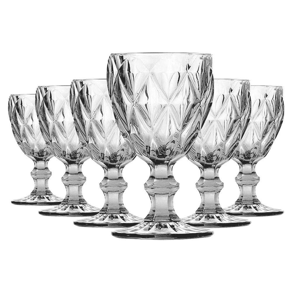 Jogo de Taças de Água Diamante Transparente 6 Peças | Linha Color Taças
