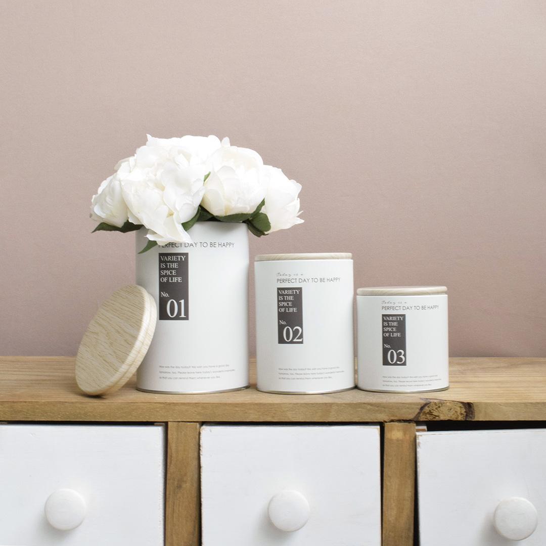 Kit de Latas Decorativas Happines Brancas