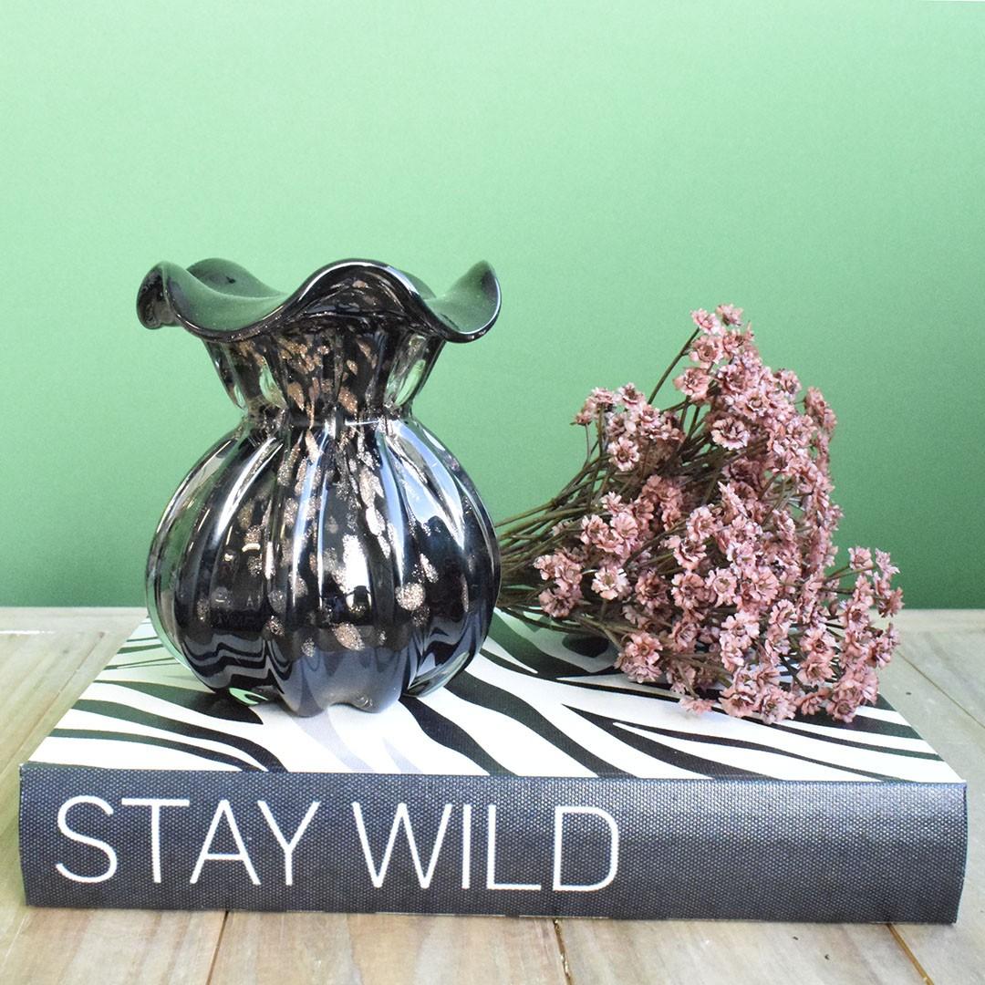 Vaso de Flores Italy Preto e Rose Gold 11,5cm | Linha Vasos Decorativos Formosinha