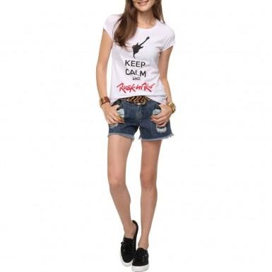 Camiseta Feminina Keep Calm Branca - Dimona