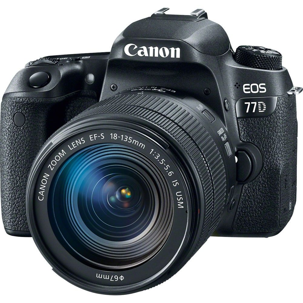 CÂMERA CANON EOS 77D AF-S 18-135 IS USM, 24MP, FULL HD, WI-Fi
