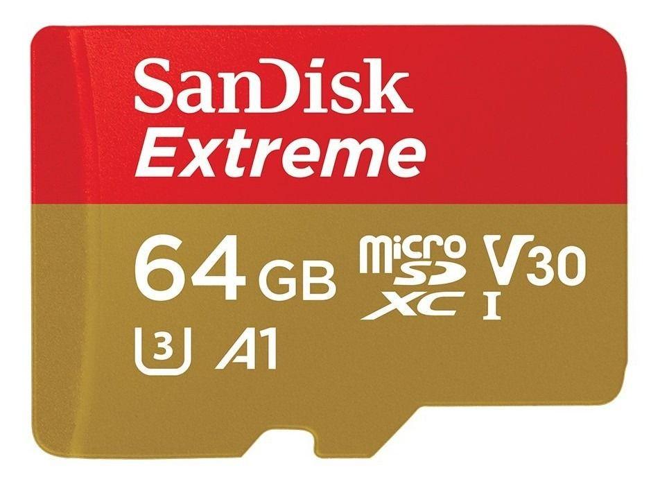 Cartão de Memória Sandisk Extreme UHS-I microSDHC de 64GB (Classe 10) com adaptador