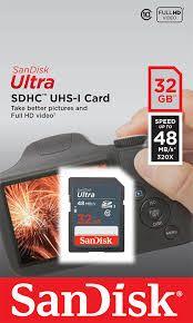 Cartão de Memória Sandisk Ultra UHS-I SDHC de 32GB (Classe 10)