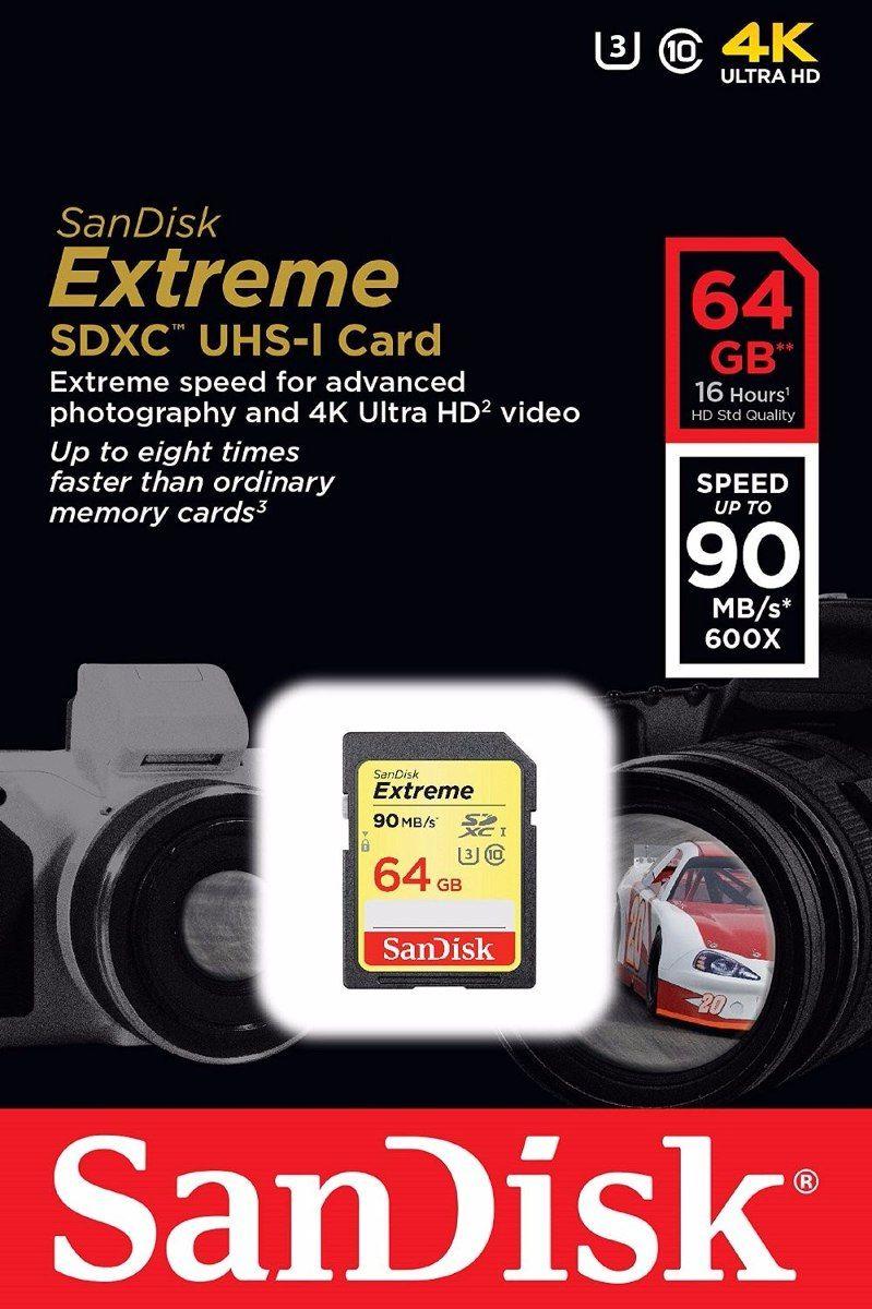 Cartão de Memória Sandisk  SDHC de 64GB Extreme UHS-I U3 (Classe 10 )