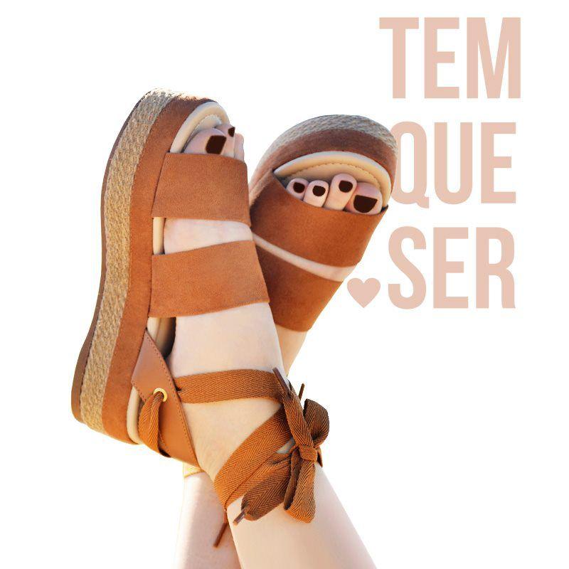 SANDÁLIA FEMININA FLATFORM TIRAS AMARRAÇÃO MOLECA 5431615