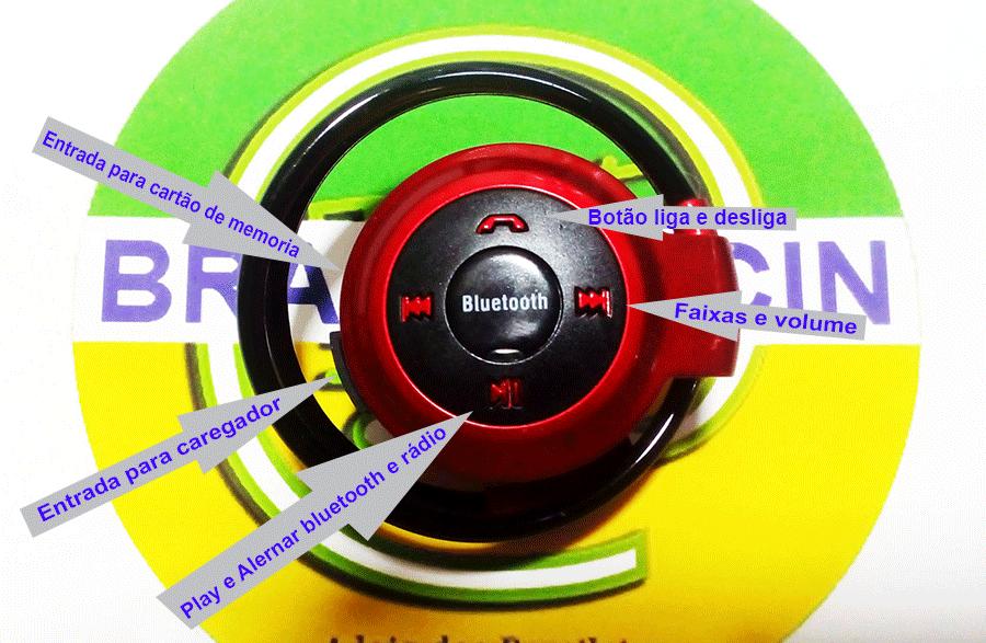Fone ouvido bluetooth cartão micro Sd Radio Fm