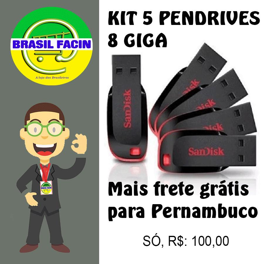 Kit com 5 pendrives SanDisk de 8 giga