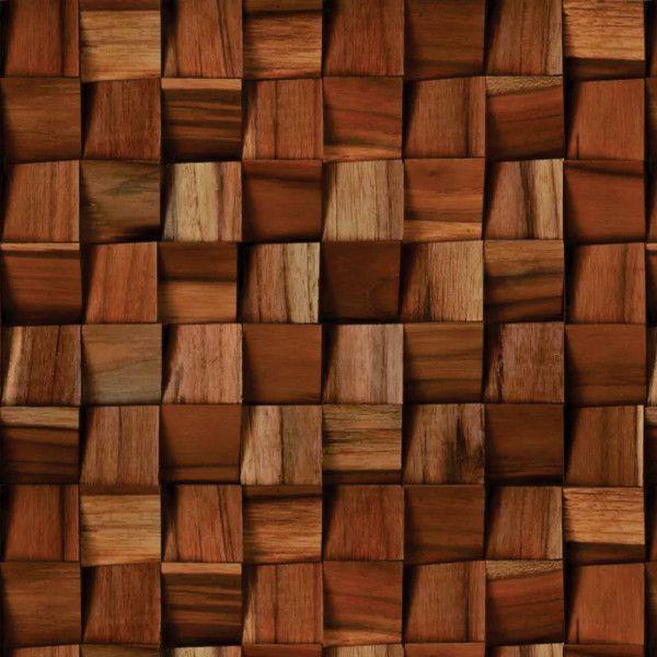 papel de parede adesivo mosaico de madeira 3d marrom dmd