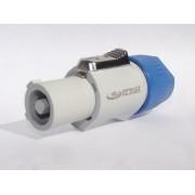 Conector POWERCON  de linha - branco e azul - saída de A/C - trava especial - fixação do cabo com parafuso em aço - mod. AK PWCBL - marca ARKO AUDIO