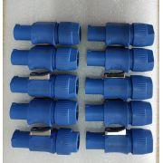 KIT C/ 10 CONECTORES  POWERCON - Azul de Linha - entrada de A/C - trava especial - fixação do cabo com parafuso em aço - mod. AK PWCAL - ARKO AUDIO