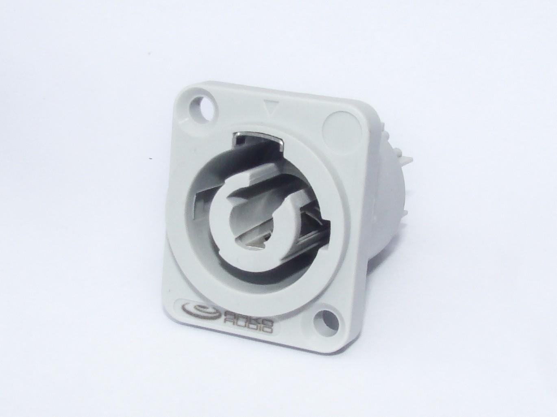 Conector POWERCON 16A - Branco de Painel - AK PWCBP - ARKO AUDIO