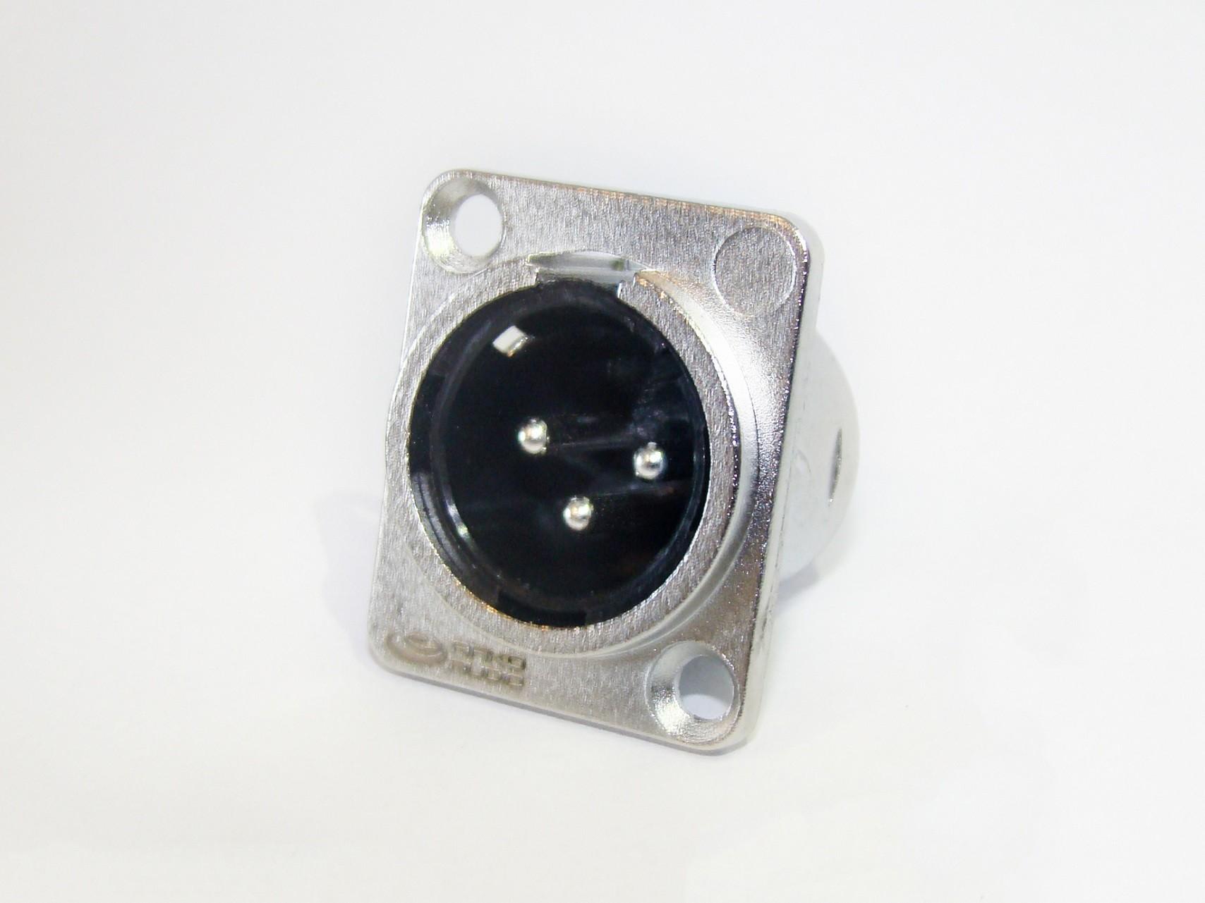 Conector XLR 3 Polos - Macho de Painel - AK XLR3MP - ARKO AUDIO