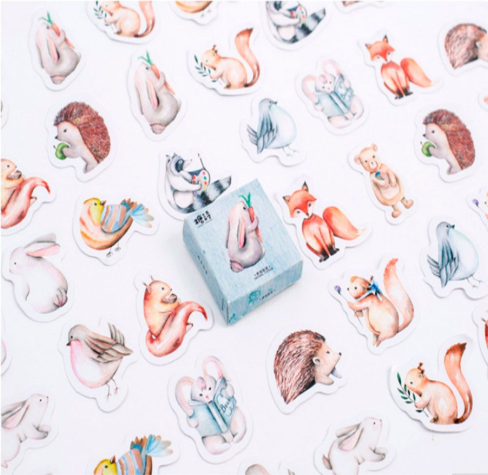 Caixinha de Adesivos Animais - 45 adesivos
