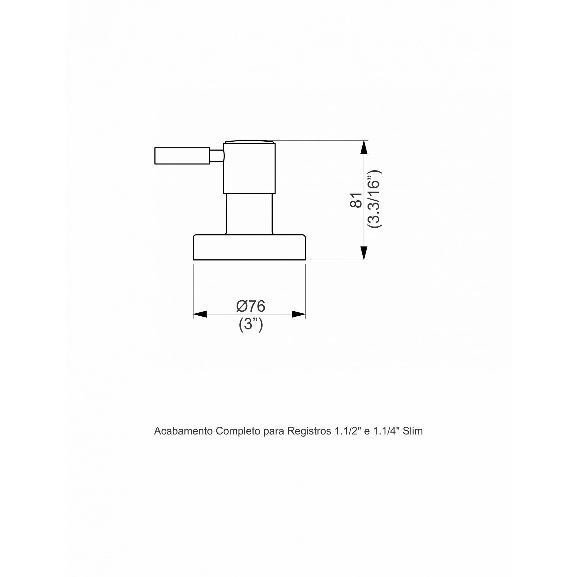 ACABAMENTO PARA REGISTRO 1/1.4 SLIM CROMADO 1162.2310 - PERFLEX
