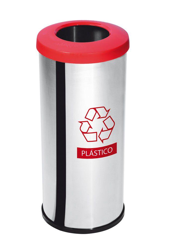 LIXEIRA INOX SELETIVA PLASTICO 30CMX70CM COM ARO VERMELHO 50 LITROS - PURIMAX