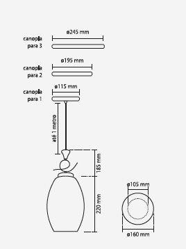 PENDENTE VITTA PARA 1 LÂMPADA VIDRO PD 2182-1 - KIN