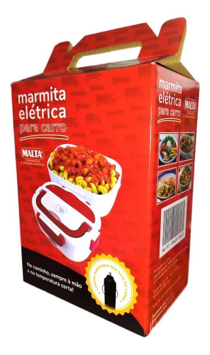 Marmita Elétrica Malta Para Carro 1,05 Litros Branca com Vermelho